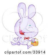 Clipart Illustration Of A Happy Pale Purple Bunny Running With Easter Eggs In A Basket On A White Background