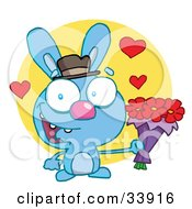 Clipart Illustration Of A Romantic Blue Rabbit With Hearts Smiling And Holding Out Flowers For His Date Over A Yellow Circle On A White Background by Hit Toon