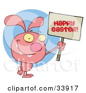 Clipart Illustration Of A Pink Bunny Rabbit Holding Up A Happy Easter Greeting Sign Over A Blue Circle On A White Background by Hit Toon
