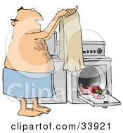 Hairy Man Wrapped In A Towel Holding Up A Clean Towel In Front Of A Washer And Dryer While Doing Laundry