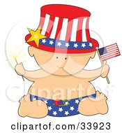 Baby In A Patriotic American Hat And Diaper Holding A Sparkler And Flag On Independence Day