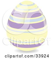 Clipart Illustration Of A Decorated Easter Egg With Pastel Yellow And Purple Horizontal Rings
