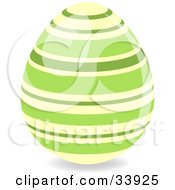 Clipart Illustration Of A Decorated Easter Egg With Pastel Yellow And Green Horizontal Rings by elaineitalia