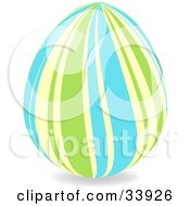Clipart Illustration Of A Decorated Easter Egg With Wavy Vertical Green Yellow And Blue Lines