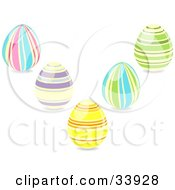 Clipart Illustration Of A Group Of Five Striped Easter Eggs In Pink Blue Purple Yellow Orange And Green Colors by elaineitalia