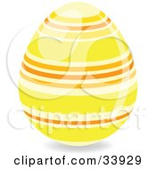 Clipart Illustration Of A Decorated Easter Egg With Yellow And Orange Horizontal Rings