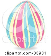 Clipart Illustration Of A Decorated Easter Egg With Wavy Vertical Pink Yellow And Blue Lines