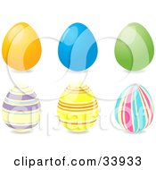 Clipart Illustration Of A Group Of Six Easter Eggs Three Solid Yellow Blue And Green And Three Striped