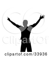 Silhouetted Muscular Man In Black Holding His Arms Out On A White Background