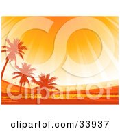 Clipart Illustration Of Rays Of Sunshine At Sunset Shining Down Up On Silhouetted Palm Trees In A Landscape