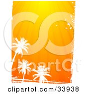 Clipart Illustration Of Three Silhouetted White Palm Trees And Grunge Below Rays Of Orange Sunshine