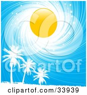Clipart Illustration Of A Bright Yellow Sun In A Swirling White And Blue Sparkly Sky Above White Silhouetted Palm Trees