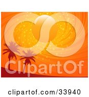 Clipart Illustration Of A Sun In A Swirling Orange Sparkling Sunset Sky Above Silhouetted Palm Trees
