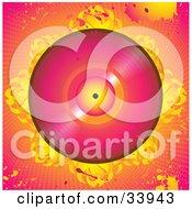 Clipart Illustration Of A Pink Vinly Record On A Bed Of Abstract Flames Over A Grunge Pink And Orange Background With Splatters And Dots by elaineitalia
