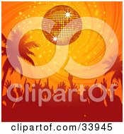 Clipart Illustration Of A Dancing Crowd And Palm Trees Silhouetted Under An Orange Disco Ball In A Swirling Sunset Sky by elaineitalia