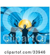 Clipart Illustration Of A Silhouetted Man And Two Ladies Dancing On A Blue Grunge Background With Speakers And A Winged Yellow Disco Ball by elaineitalia