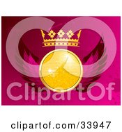 Clipart Illustration Of A Yellow Disco Ball With A Crown And Pink Wings Over A Pink Grunge Dotted And Splattered Background by elaineitalia