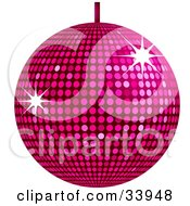 Clipart Illustration Of A Pink Disco Ball Suspended From A Ceiling With Bursts Of Light Reflecting Off The Mirrors