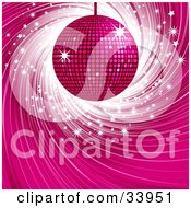 Clipart Illustration Of A Shiny Pink Disco Ball Suspended Over A Swirling Blue Background With White Sparkles
