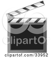 Clipart Illustration Of An Open Clapperboard With A Blank Writing Area by Maria Bell #COLLC33952-0034