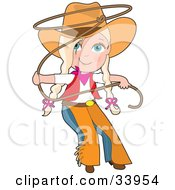 Clipart Illustration Of A Cute Cowgirl In Chaps And A Hat Swirling A Lasso Her Blond Hair In Braids by Maria Bell