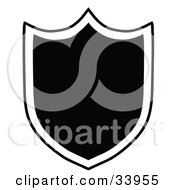 Clipart Illustration Of A Black Shield Outlined In White