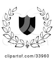 Clipart Illustration Of A Black Silhouetted Shield Surrounded By A Leafy Laurel