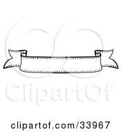 Clipart Illustration Of A Black And White Waving Banner With White Text Space