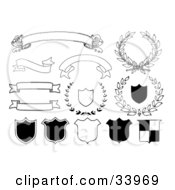 Clipart Illustration Of Blank Banners Shields And Laurels In Black And White