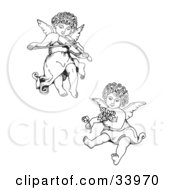 Two Adorable Curly Haired Cherubs One Playing A Violin And Flying The Other Holding Flowers