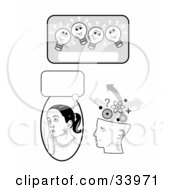 Clipart Illustration Of A Lightbulb Text Box Girl In Thought And Human Head Brainstorming by C Charley-Franzwa