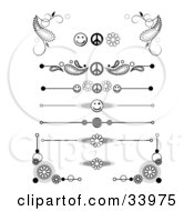 Clipart Illustration Of A Set Of Black And White Peace Smiley Face Flower And Swirly Corner Designs Symbols Headers Dividers Banners Or Lower Back Tattoo Designs by C Charley-Franzwa