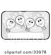 Clipart Illustration Of Four Happy Lightbulbs Shining Brightly Over A Blank Text Box