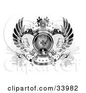 Clipart Illustration Of A Coat Of Arms With An Iron Cross Shield Stars Banners And Two Horses by C Charley-Franzwa #COLLC33982-0078