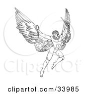 Clipart Illustration Of A Pen And Ink Drawing Of A Male Warrior Angel With Large Wings Flying With A Torch And Sword