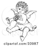 Clipart Illustration Of A Sweet Curly Haired Cherub Sitting On The Ground Holding Flowers In One Arm And A Rose Out In One Hand