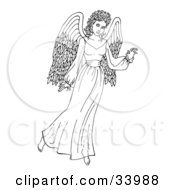 Clipart Illustration Of A Beautiful African Angel Gesturing With One Hand