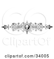 Clipart Illustration Of An Ornate Black And White Skull And Flower Header Divider Banner Or Lower Back Tattoo Design by C Charley-Franzwa #COLLC34005-0078