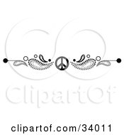 Black And White Paisley And Peace Symbol Header Divider Banner Or Lower Back Tattoo Design