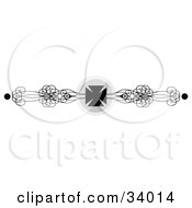Clipart Illustration Of A Black And White Iron Cross And Ornate Scrolls Header Divider Banner Or Lower Back Tattoo Design