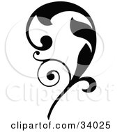 Clipart Illustration Of A Bold Black Leaf Scroll Facing Left by OnFocusMedia