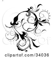 Clipart Illustration Of A Black Scrolling Vine With Flowers And Curly Petals by OnFocusMedia #COLLC34036-0049