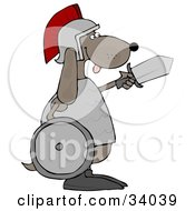 Clipart Illustration Of A Military Dog Warrior In A Helmet Carrying A Sword And Shield