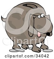 Clipart Illustration Of A Brown Doggy Bank With A Slot On The Back And Coins On The Ground