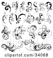 Clipart Illustration Of A Black And White Set Of Bold Black And Elegant Scrolls And Vines
