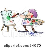 Focused Male Artist Squinting While Painting Colorful Splatters On A Canvas by gnurf