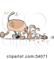 Clipart Illustration Of A Brown Pooch Walking With His Head On The Ground Sniffing A Scent