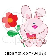 Clipart Illustration Of A Joyful Pink Bunny Rabbit Sitting With A Red Daisy Flower