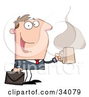 Clipart Illustration Of A Pleased Caucasian Businessman Walking With A Briefcase And A Hot Cup Of Coffee