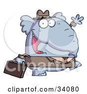 Clipart Illustration Of A Friendly Business Elephant Waving And Walking To Work With A Briefcase by Hit Toon